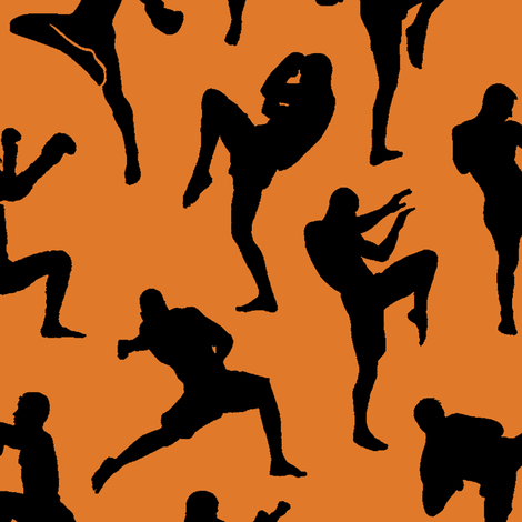 Muay Thai on Orange // Large fabric by thinlinetextiles on Spoonflower - custom fabric