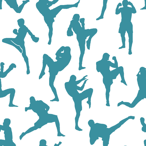 Teal Muay Thai // Small fabric by thinlinetextiles on Spoonflower - custom fabric