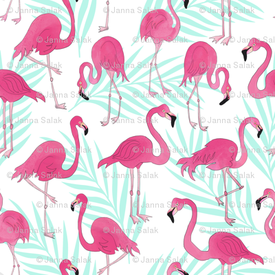Pink Flamingos and Mint Palm Leaves