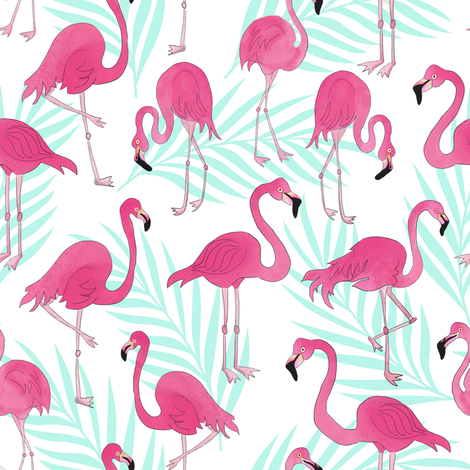 Pink Flamingos and Mint Palm Leaves  fabric by jannasalak on Spoonflower - custom fabric