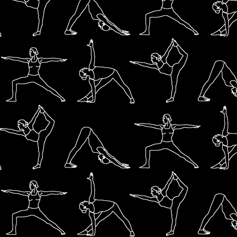 Yoga Outlines on Black // Small fabric by thinlinetextiles on Spoonflower - custom fabric