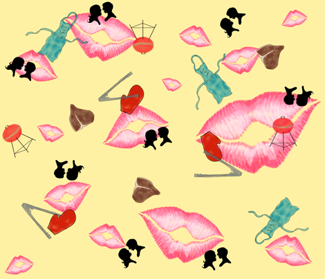 Kiss the Cook (He's Makin' Steak) fabric by dandd_designs on Spoonflower - custom fabric