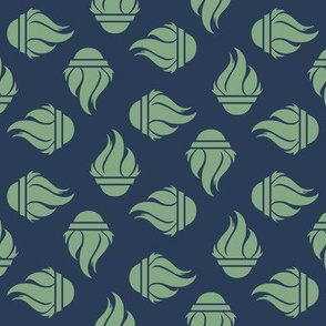 TGS Flames - Green on Navy