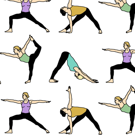 Yoga Girls // Large fabric by thinlinetextiles on Spoonflower - custom fabric
