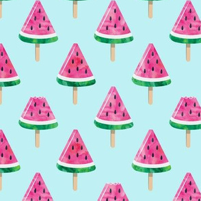 watermelon popsicles - pink on blue