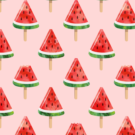watermelon popsicles - red on pink fabric by littlearrowdesign on Spoonflower - custom fabric