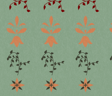 Green Floral Design fabric by ciarabel on Spoonflower - custom fabric