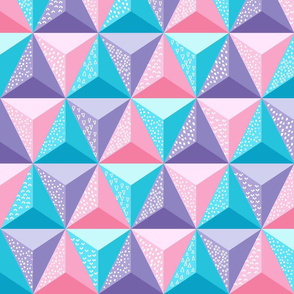 Geodesic Jumble (Pink, Lavendar and Blue)