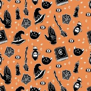 Witchy fabric on orange