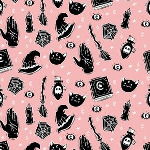 Witchy Pattern on Pastel Pink