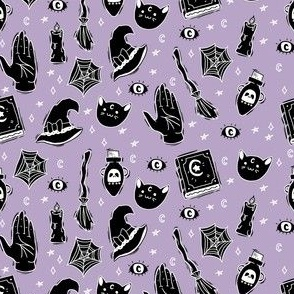 Witchy Halloween on Pastel Purple, Halloween Spooky