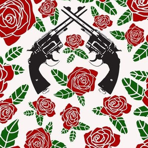 Vintage Revolvers on Red & Ivory Floral