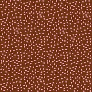 Twinkling Pink Dots on  Chocolate Fudge - Small Scale