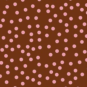 Twinkling Rosy Pink Dots on  Chocolate Fudge - Large Scale