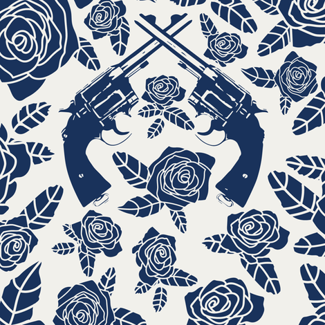 Vintage Revolvers in Navy & Alabaster // Large fabric by thinlinetextiles on Spoonflower - custom fabric