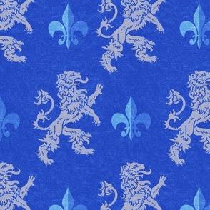 Light Gray Lions on Blue