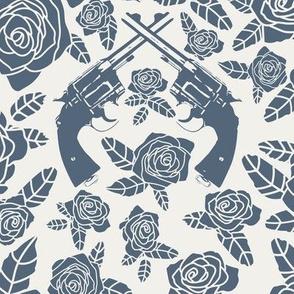 Vintage Revolvers in Grey-Azure & Alabaster Floral // Large