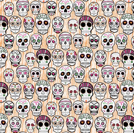 Sugar skulls orange fabric by doris&fred on Spoonflower - custom fabric