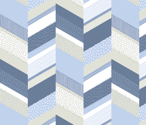 Chevron with Textures / Denim Blue and Gray fabric by marketa_stengl on Spoonflower - custom fabric