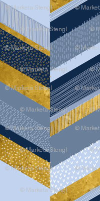 Chevron with Textures / Gold Effect and Denim Blue