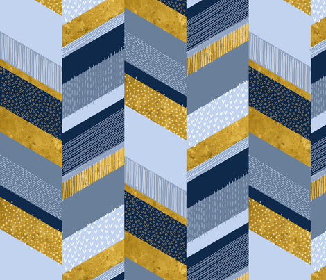 Chevron with Textures / Gold Effect and Denim Blue fabric by marketa_stengl on Spoonflower - custom fabric