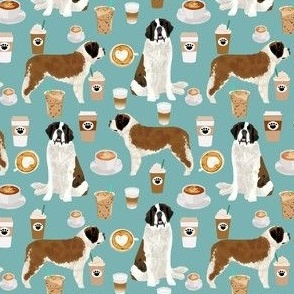 Saint Bernard (smaller) dog breed pattern fabric coffee latte  2