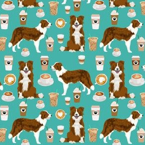 Border Collie  (smaller) coffee cafe dog fabric pet dog breeds collies turquoise