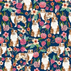 aussie (smaller) dog floral fabric best red merle dogs fabric australian shepherd dogs fabric aussie dog fabric