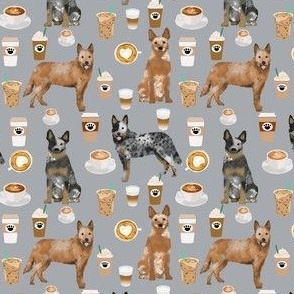 australian cattle dog (smaller) fabric blue and red heelers and coffees fabric - grey