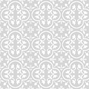 White on greige reverse moroccan tile