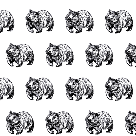 Wombat trot-B&W- fabric by cloudsong_art on Spoonflower - custom fabric