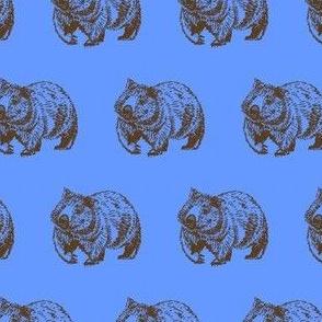 Wombat trot-BrownOnBlue