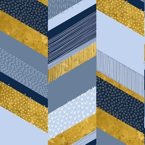small Chevron with Textures / Gold Effect and Denim Blue