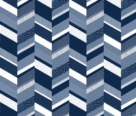 Small Chevron with Textures / Denim Blue and White fabric by marketa_stengl on Spoonflower - custom fabric