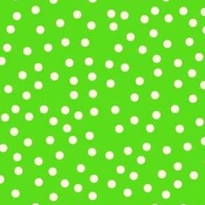 Twinkling Creamy Dots on Lime Green - Large Scale