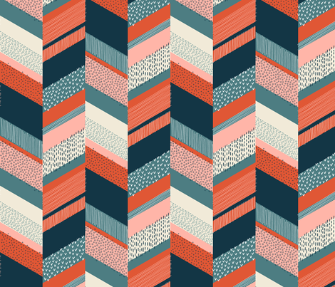 Small Chevron with Textures / Orange and Persian Green fabric by marketa_stengl on Spoonflower - custom fabric