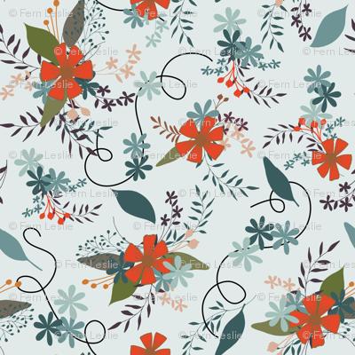 Floral - Pale DTurq