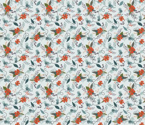 Floral - Pale DTurq fabric by fernlesliestudio on Spoonflower - custom fabric