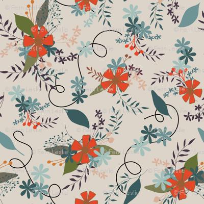 Floral - Tan