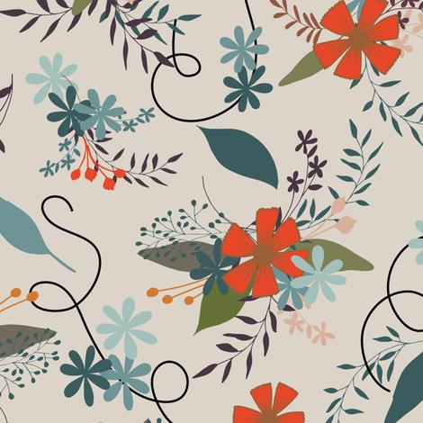 Floral - Tan fabric by fernlesliestudio on Spoonflower - custom fabric