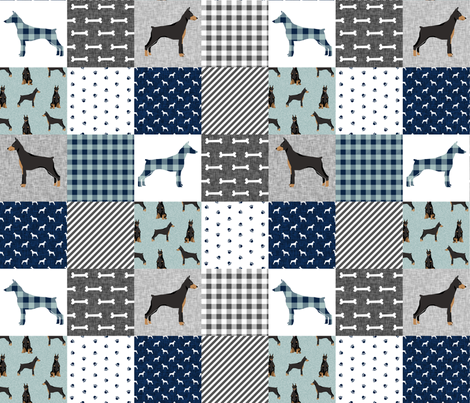 doberman pinscher pet quilt  b cheater quilt dog breed nursery collection  fabric by petfriendly on Spoonflower - custom fabric