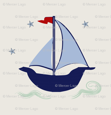 Sailboat blue navy green stars waves hobie cat beetle cat sailboat