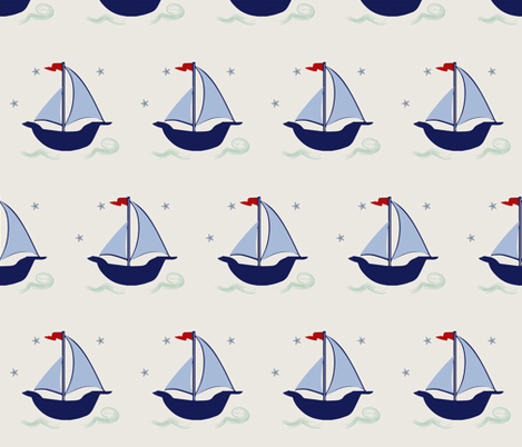 Sailboat blue navy green stars waves hobie cat beetle cat sailboat fabric by jenlats on Spoonflower - custom fabric
