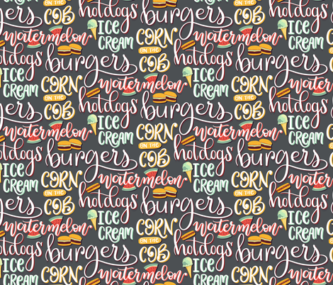 Handlettered Summer Cookout fabric by gwendegroff on Spoonflower - custom fabric