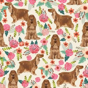 cocker spaniel florals cream dog breed fabric