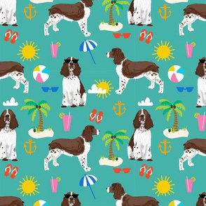 english springer spaniel beach summer tropical vacation dog fabric teal