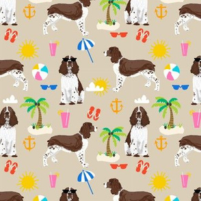 english springer spaniel beach summer tropical vacation dog fabric tan