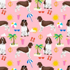 english springer spaniel beach summer tropical vacation dog fabric pink