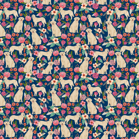 golden retriever florals navy dog breed fabric  fabric by petfriendly on Spoonflower - custom fabric