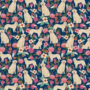 golden retriever florals navy dog breed fabric